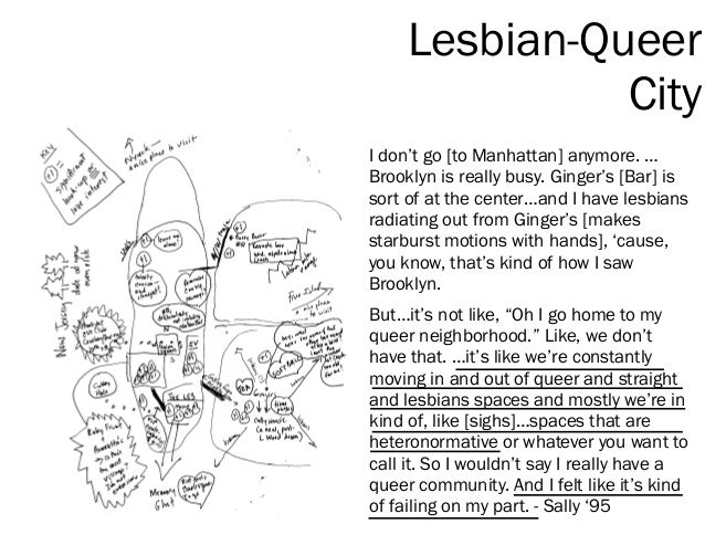 I don't go [to Manhattan] anymore. … Brooklyn is really busy. Ginger's [Bar] is sort of at the center…and I have lesbians ...