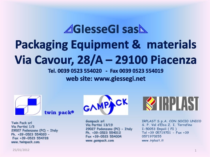 twin pack                                Gampack srl                    IRPLAST S.p.A. CON SOCIO UNICOTwin Pack srl      ...