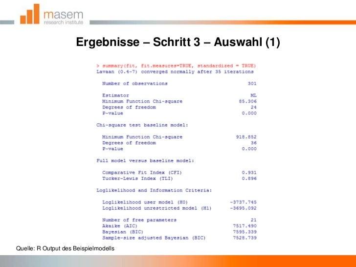 Ergebnisse – Schritt 3 – Auswahl (1)<br />Quelle: R Output des Beispielmodells<br />