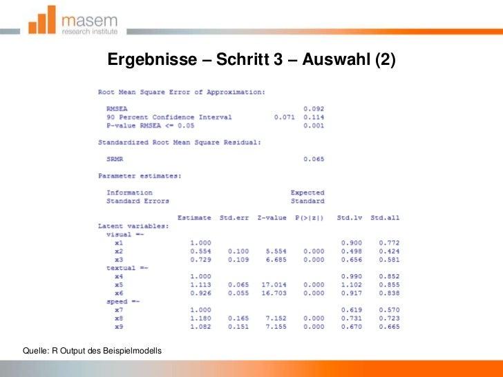 Ergebnisse – Schritt 3 – Auswahl (2)<br />Quelle: R Output des Beispielmodells<br />