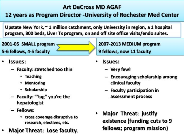 Art DeCross MD AGAF 12 years as Program Director -University of Rochester Med Center Upstate New York, ~ 1 million catchme...