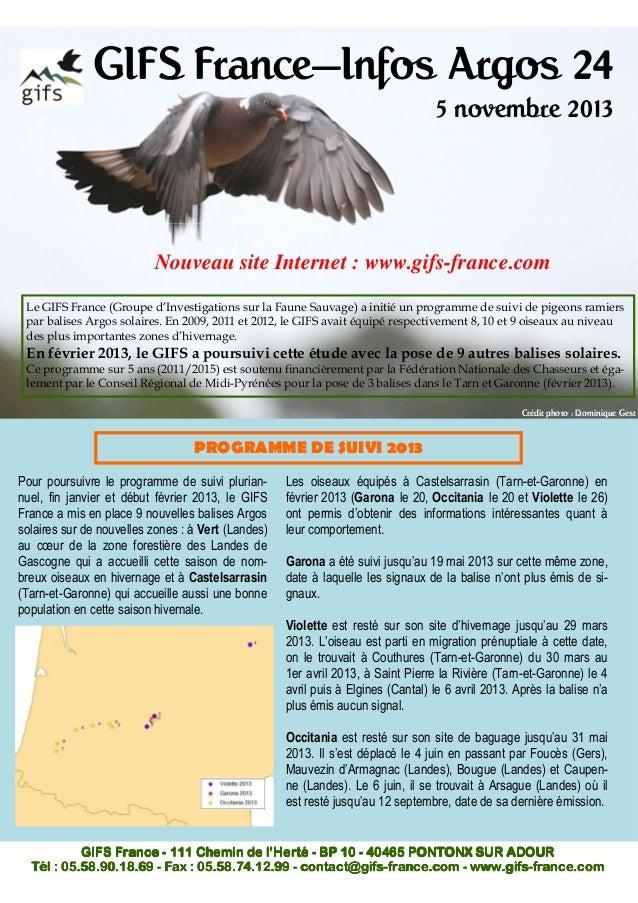 GIFS France—Infos Argos 24 5 novembre 2013  Nouveau site Internet : www.gifs-france.com Le GIFS France (Groupe d'Investiga...