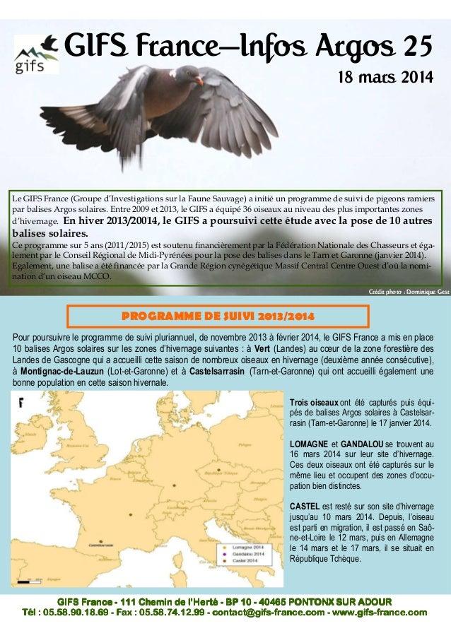 GIFS France—Infos Argos 25 18 mars 2014 Le GIFS France (Groupe d'Investigations sur la Faune Sauvage) a initié un programm...