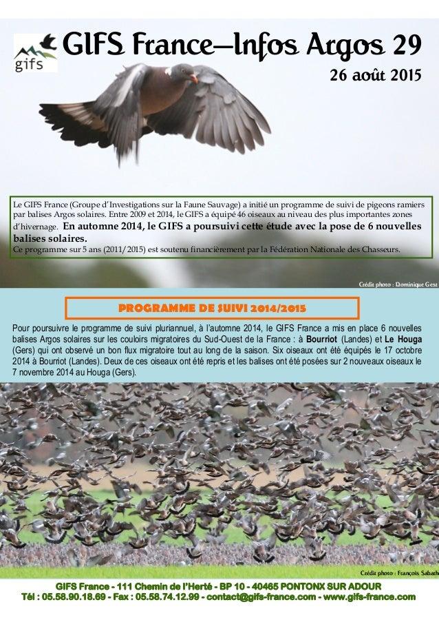GIFS France—Infos Argos 29 26 août 2015 Le GIFS France (Groupe d'Investigations sur la Faune Sauvage) a initié un programm...