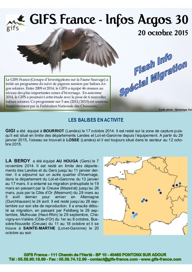 GIFS France - Infos Argos 30 20 octobre 2015 Le GIFS France (Groupe d'Investigations sur la Faune Sauvage) a initié un pro...