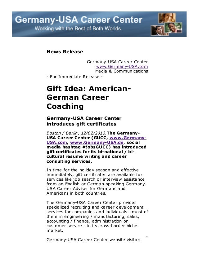 News Release Germany-USA Career Center www.Germany-USA.com Media & Communications - For Immediate Release -  Gift Idea: Am...