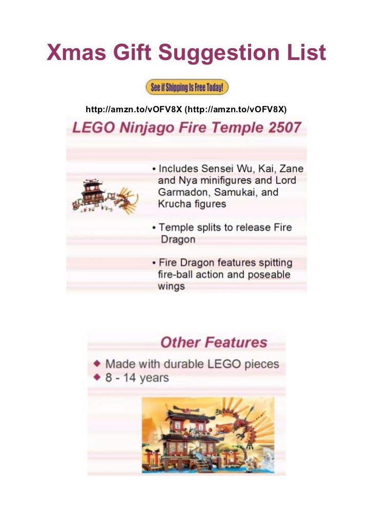 Xmas Gift Suggestion List   http://amzn.to/vOFV8X (http://amzn.to/vOFV8X)