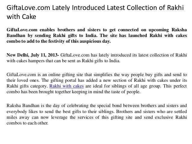 GiftaLove.com Lately Introduced Latest Collection of Rakhi with Cake GiftaLove.com enables brothers and sisters to get con...