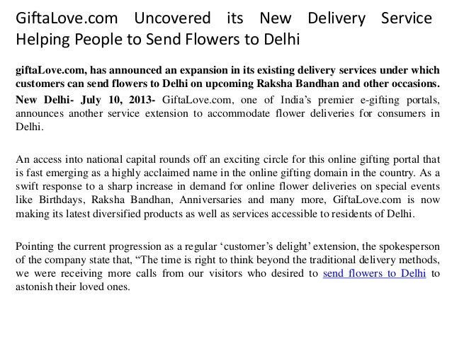 GiftaLove.com Uncovered its New Delivery Service Helping People to Send Flowers to Delhi giftaLove.com, has announced an e...