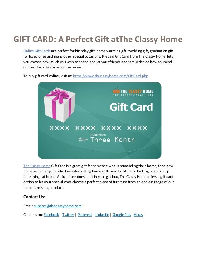 Buy Online Gift Card A Perfect At The Classy Home