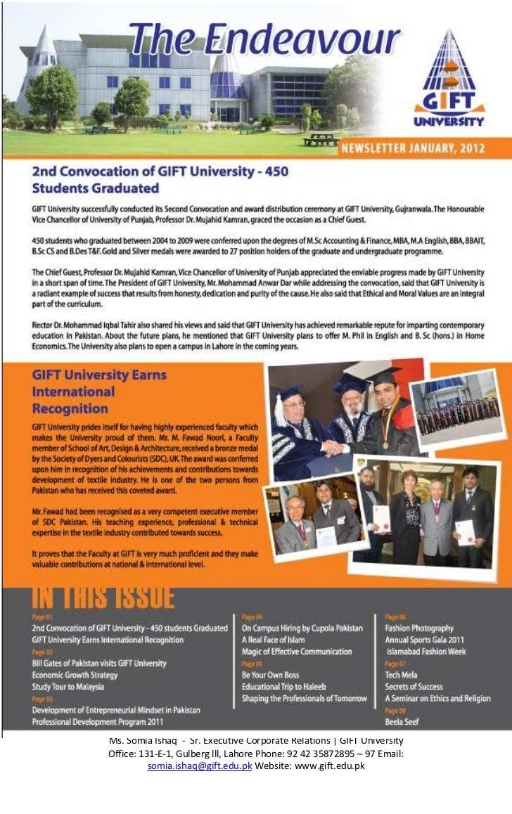 Gift university newsletter ms somia ishaq sr executive corporate relations gift universityoffice 131 negle Choice Image