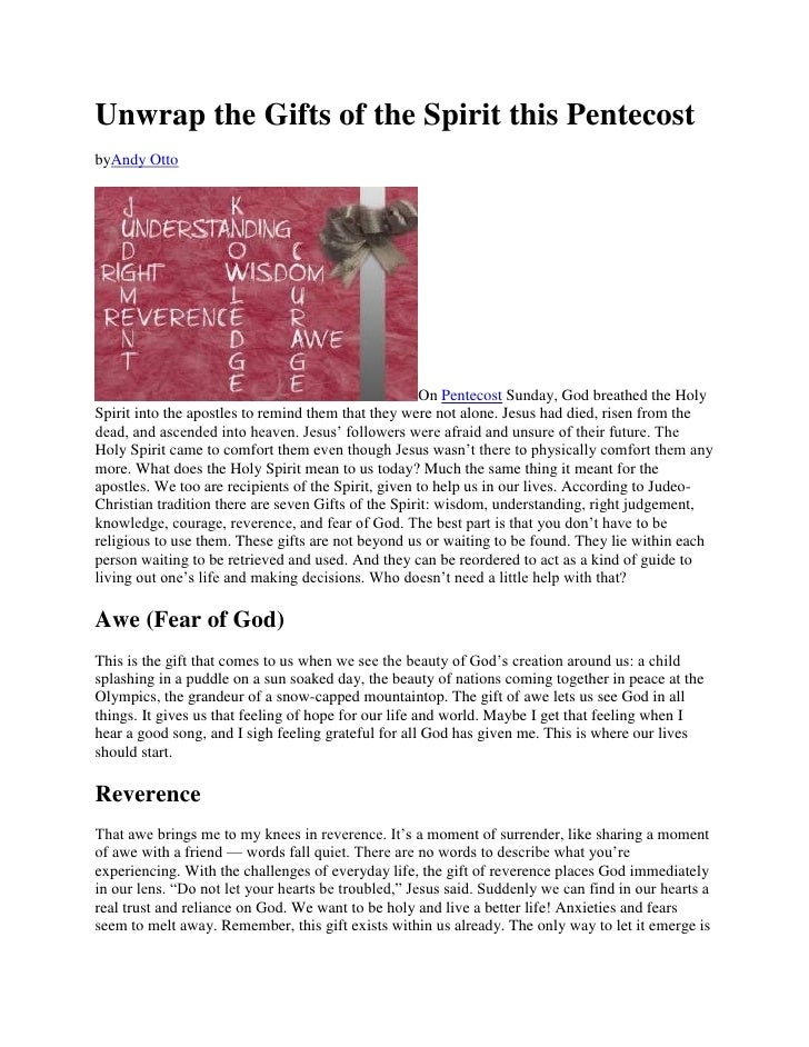 Unwrap the Gifts of the Spirit this PentecostbyAndy Otto                                                     On Pentecost ...