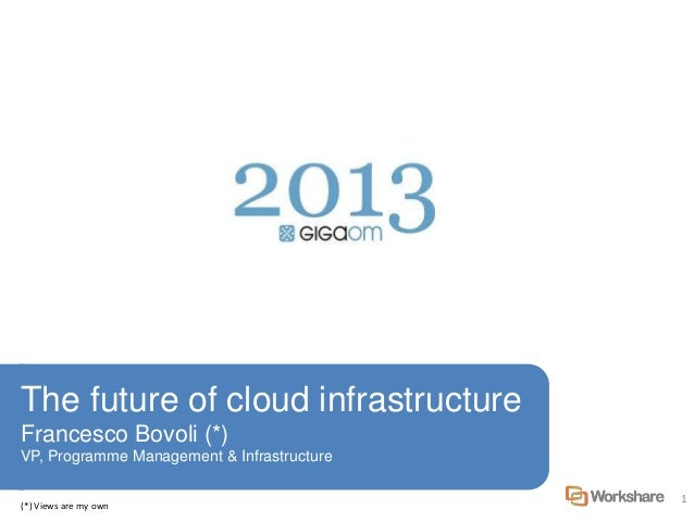 1 The future of cloud infrastructure Francesco Bovoli (*) VP, Programme Management & Infrastructure (*) Views are my own