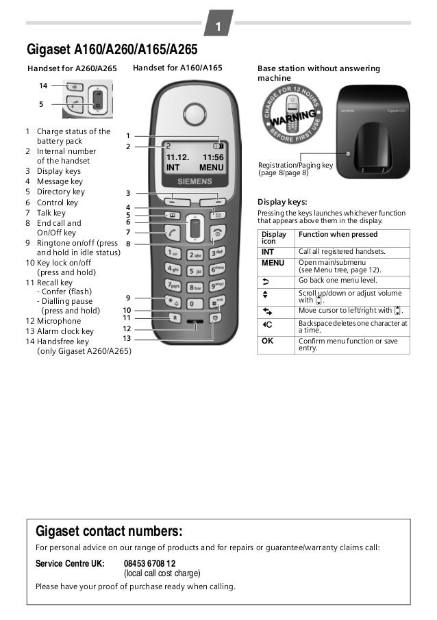 Athen / GBR / A31008-M1801-L101-3-7619 / Athen_en_Kombi_neu.fm / 17.09.2008  1  Gigaset A160/A260/A165/A265 Handset for A1...