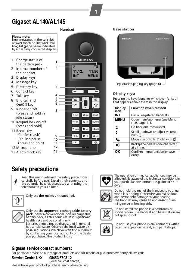gigaset al140 al145 telephone manual rh slideshare net siemens gigaset al145 manual siemens gigaset al145 manual