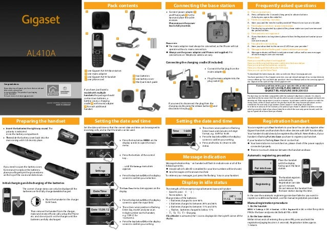 Gigaset AL410A_UK _ A31008-M2237-L151-1-7619 Pack contents If you have purchased a model with multiple handsets the packag...