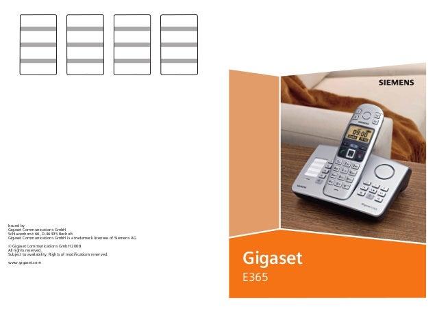 BA Cover E365.qxd  17.07.2006  14:11 Uhr  Seite 1  Issued by Gigaset Communications GmbH Schlavenhorst 66, D-46395 Bocholt...
