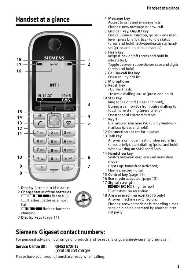 gigaset s670 s675 telephone user guide rh slideshare net Siemens Gigaset One BTTN Siemens Gigaset A340