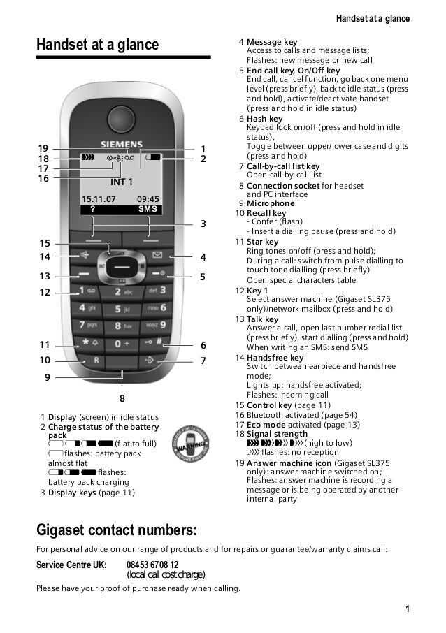 Gigaset sl370 sl375 telephone user guide