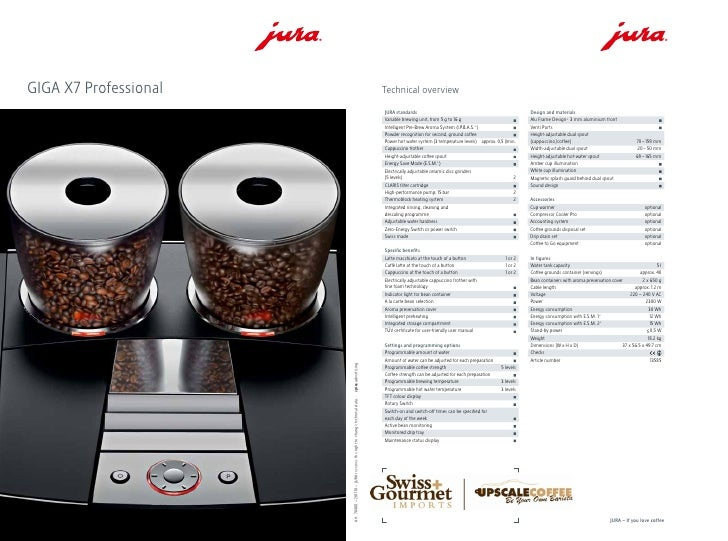 juragiga x7 spec sheet upscale coffee. Black Bedroom Furniture Sets. Home Design Ideas
