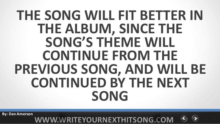 THE SONG WILL FIT BETTER IN        THE ALBUM, SINCE THE         SONG'S THEME WILL         CONTINUE FROM THE     PREVIOUS S...