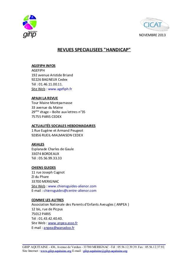 """NOVEMBRE 2013  REVUES SPECIALISEES """"HANDICAP""""  AGEFIPH INFOS  AGEFIPH  192 avenue Aristide Briand  92226 BAGNEUX Cedex  Té..."""