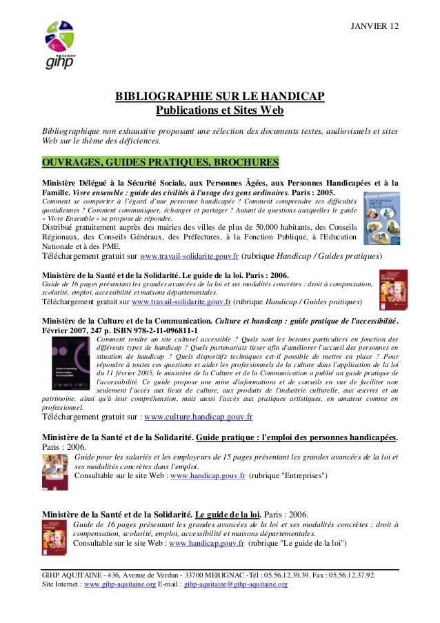 JANVIER 12  BIBLIOGRAPHIE SUR LE HANDICAP  Publications et Sites Web  Bibliographique non exhaustive proposant une sélecti...