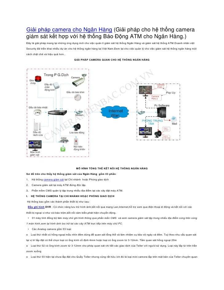 Giải pháp camera cho Ngân Hàng (Giải pháp cho hệ thống cameragiám sát kết hợp với hệ thống Báo Động ATM cho Ngân Hàng.)Đây...
