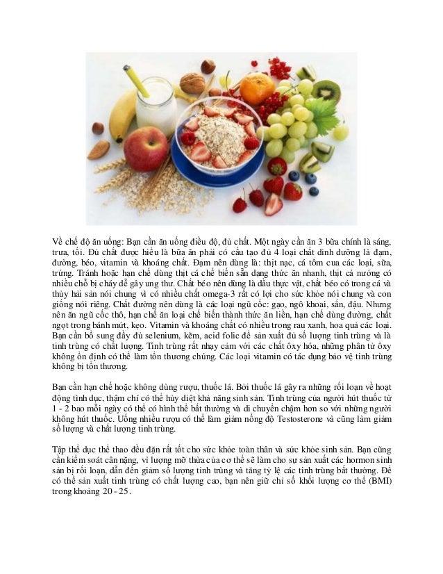 Về chế độ ăn uống: Bạn cần ăn uống điều độ, đủ chất. Một ngày cần ăn 3 bữa chính là sáng, trưa, tối. Đủ chất được hiểu là ...
