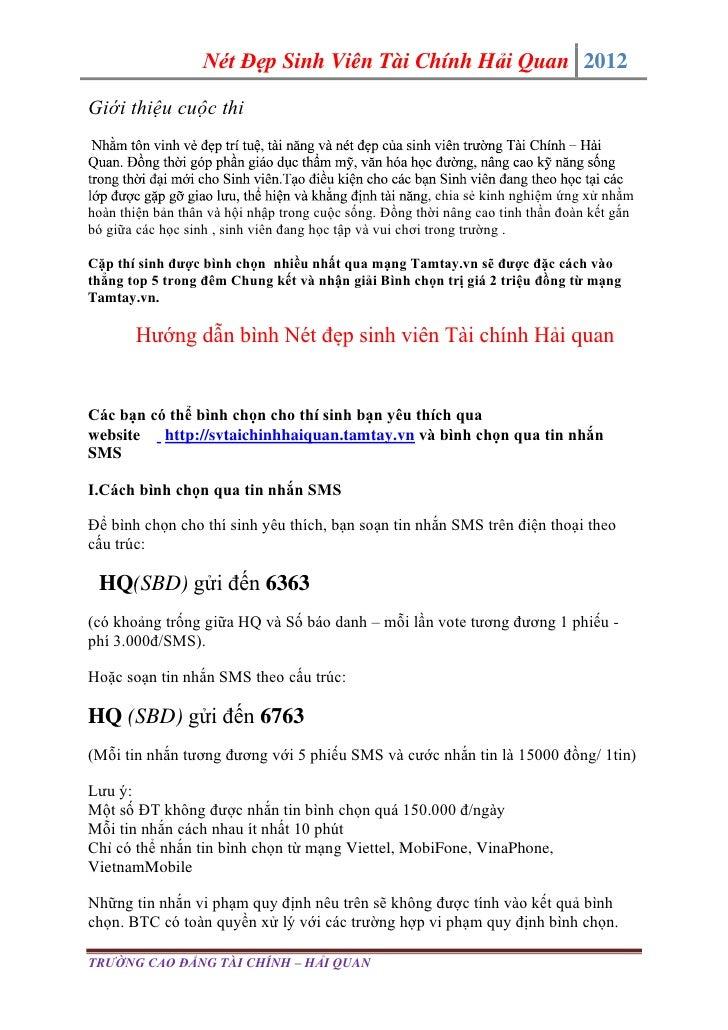 Nét Đẹp Sinh Viên Tài Chính Hải Quan 2012Giới thiệu cuộc thi                                                              ...