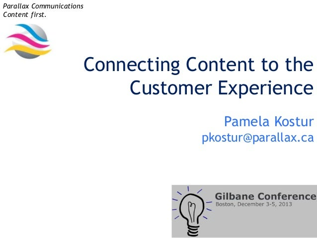 Parallax Communications Content first.  Connecting Content to the Customer Experience Pamela Kostur pkostur@parallax.ca