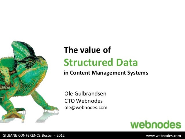 The value of                               Structured Data                               in Content Management Systems    ...