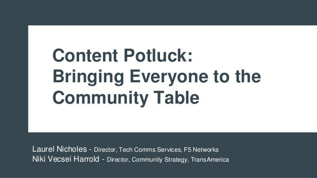 Content Potluck: Bringing Everyone to the Community Table Laurel Nicholes - Director, Tech Comms Services, F5 Networks Nik...