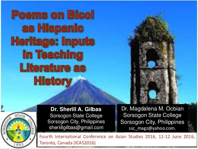 Poems on Bicol as Hispanic Heritage: Inputs in Teaching Literature as…