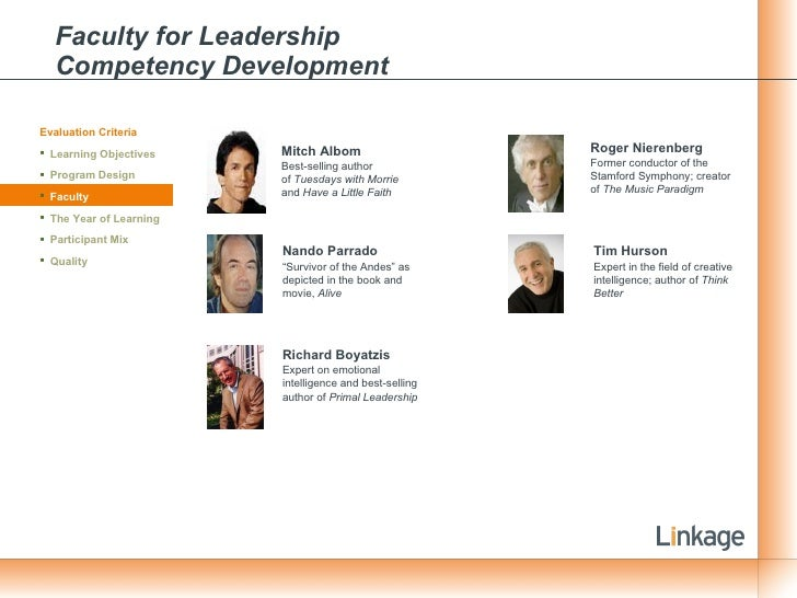 Faculty for Leadership  Competency Development Mitch Albom Best-selling author of Tuesdays with Morrie  and Have a Littl...