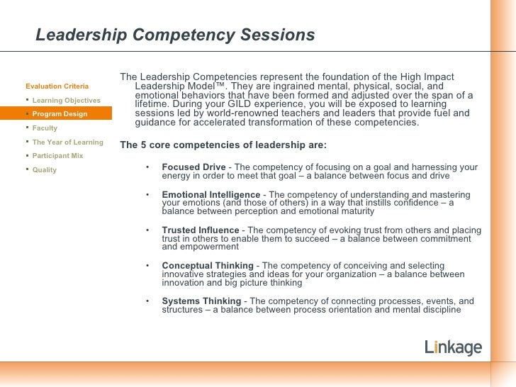Leadership Competency Sessions <ul><li>The Leadership Competencies represent the foundation of the High Impact Leadership ...