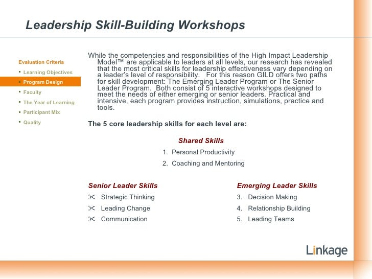 Leadership Skill-Building Workshops <ul><li>While the competencies and responsibilities of the High Impact Leadership Mode...
