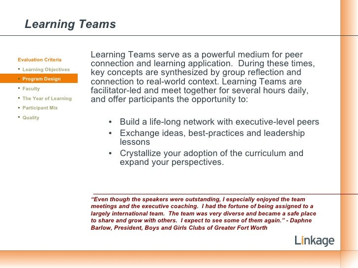 Learning Teams <ul><li>Learning Teams serve as a powerful medium for peer connection and learning application.  During the...