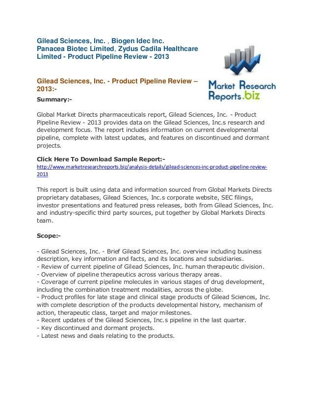 Gilead Sciences, Inc. , Biogen Idec Inc. Panacea Biotec Limited, Zydus Cadila Healthcare Limited - Product Pipeline Review...