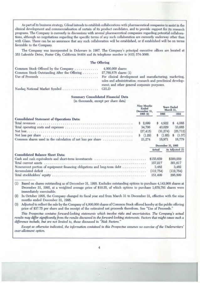 Gilead Sciences Stock Offering Prospectus 1996 Excerpts