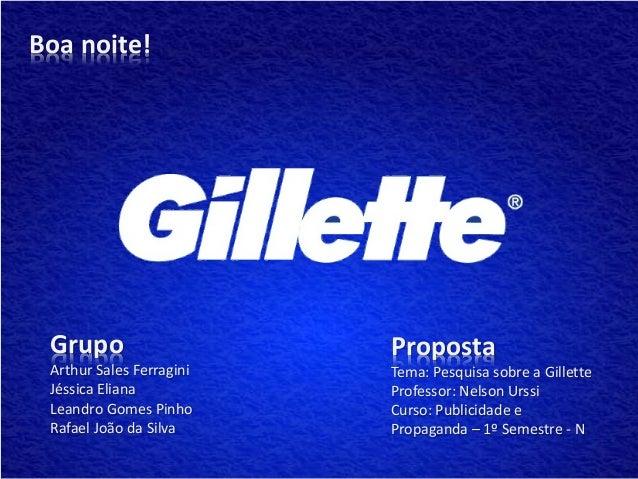 Boa noite! Grupo                    Proposta Arthur Sales Ferragini   Tema: Pesquisa sobre a Gillette Jéssica Eliana      ...