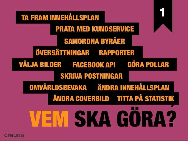 1   EXTERNTA FRAM INNEHÅLLSPLAN     INTERN          PRATA MED KUNDSERVICE  •Webbyrå              •Webbmaster             S...