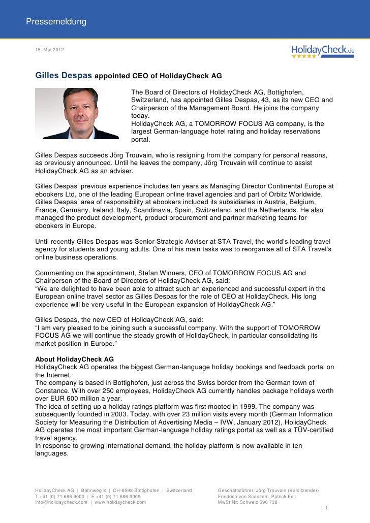 Pressemeldung 15. Mai 2012 Gilles Despas appointed CEO of HolidayCheck AG                                       The Board ...