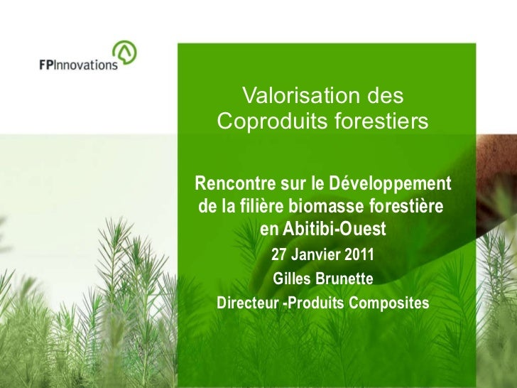 Valorisation des Coproduits forestiers Rencontre sur le Développement de la filière biomasse forestière  en Abitibi-Ouest ...