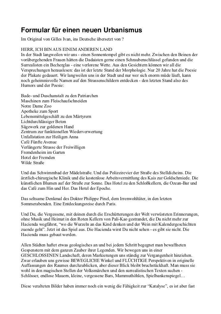 FormularfüreinenneuenUrbanismusIm Original von Gilles Ivan, ins Deutsche übersetzt von ?HERR, ICH BIN AUS EINEM ANDERE...