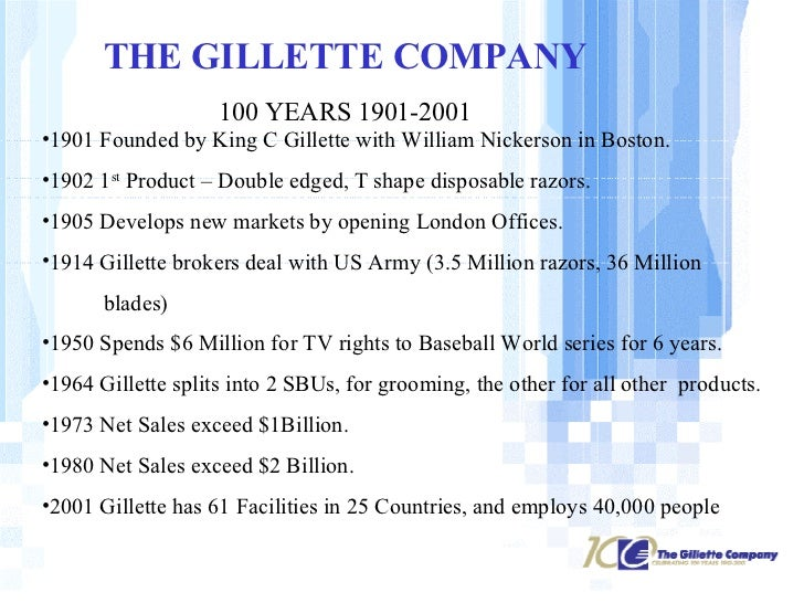 gillette swot An essay or paper on product analysis on gillettes's razors gillette is leading worldwide home applicants, such as razor, battery, electronic and manual toothbrush, manufacturing company.