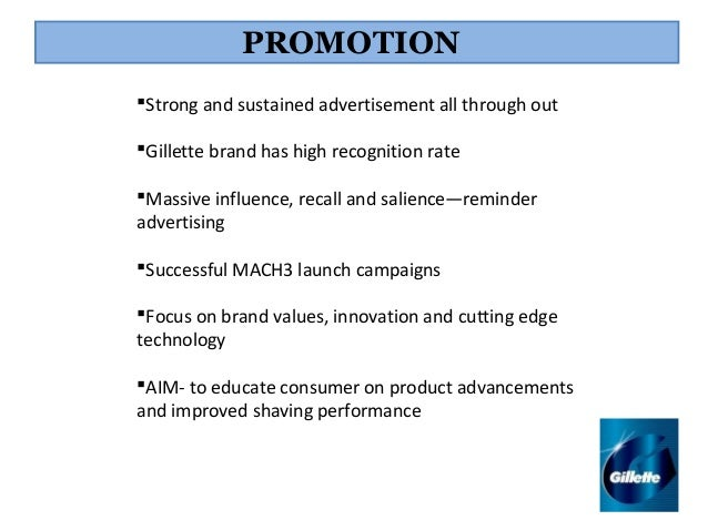 marketing mix of gillette Read this business business plan and over 88,000 other research documents gillette marketing plan 6 marketing program the following contains the four elements of the marketing mix for the.
