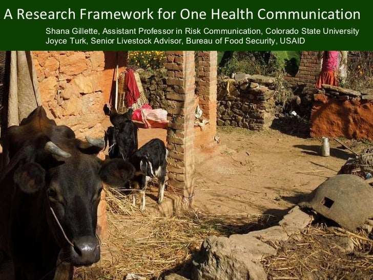 A Research Framework for One Health Communication [email_address] Shana Gillette, Assistant Professor in Risk Communicatio...