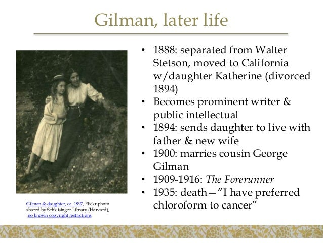 """the bibliographic essay on charlotte perkins gilmans the yellow wallpaper Free essay: amber gonzalez 12/6/11 english 2213 melissa whitney charlotte perkins gilman's """"the yellow wallpaper"""": the use of symbolism to express the."""