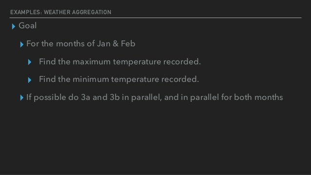 EXAMPLES: WEATHER AGGREGATION ▸ Goal ▸ For the months of Jan & Feb ▸ Find the maximum temperature recorded. ▸ Find the min...
